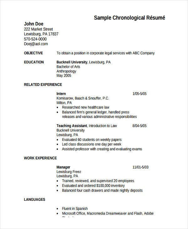 5  hr fresher resume template