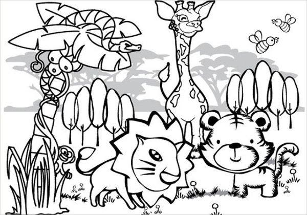 Jungle Animals Coloring Page
