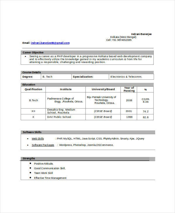 It Fresher Resume - 6+ Free Word, Pdf Documents Download! | Free
