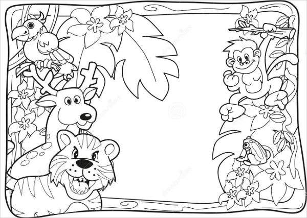 9 jungle coloring pages jpg ai illustrator download free