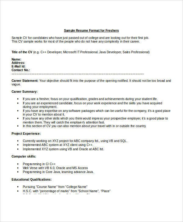 it fresher resume format