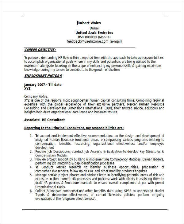 hr fresher resume format doc