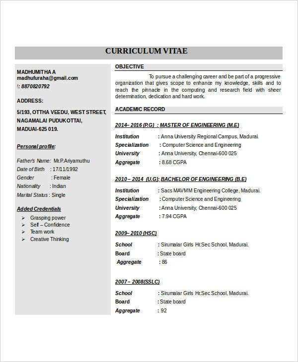 45 Fresher Resume Templates Pdf Doc: 6+ Free Word, PDF Documents Download