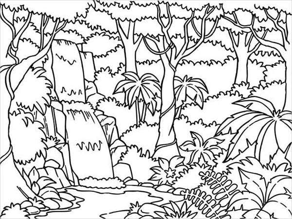 Jungle Trees Coloring Page