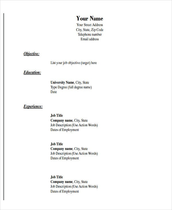 basic resume template word - solarfm.tk