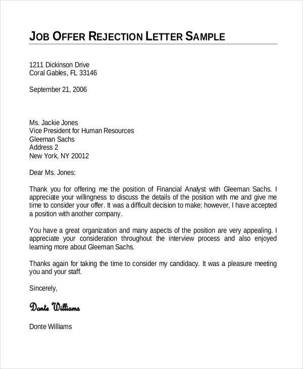 employment offer rejection letter template