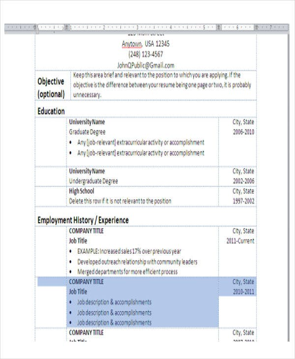 6+ Basic Resume Format Template - 6+ Free Word, Pdf Format