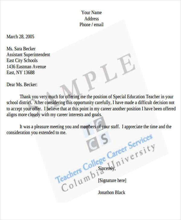 offer rejection letter format