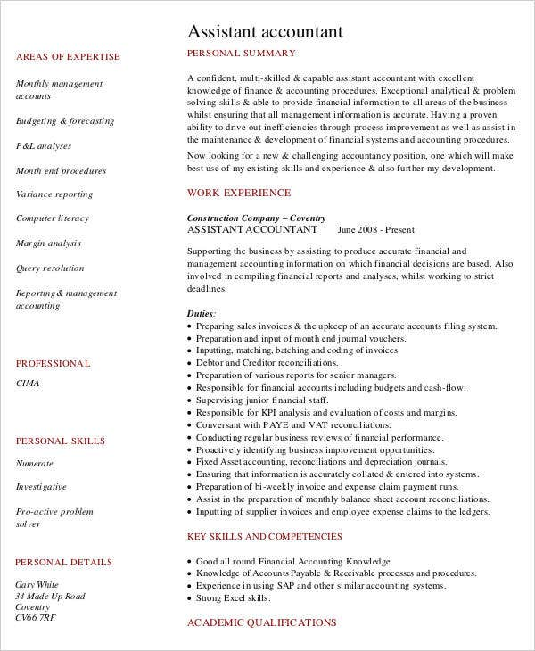 assistant accountant resume template