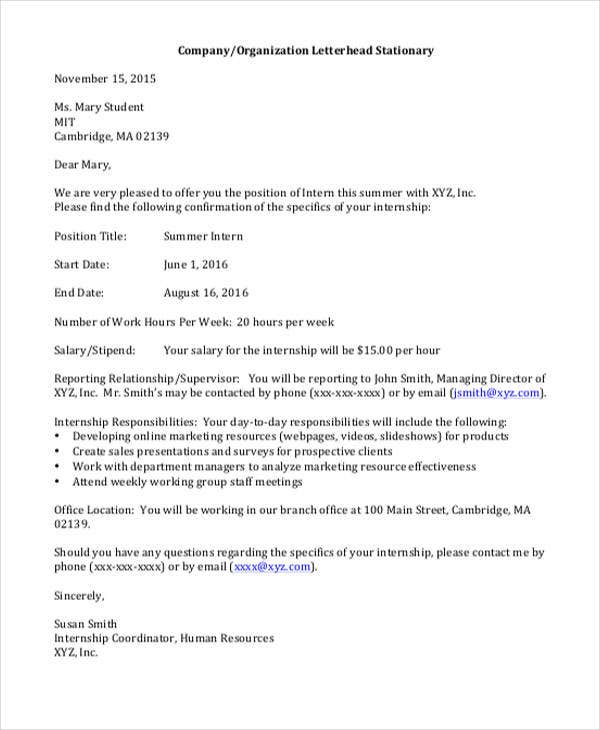 Employment Offer Letter Template   Free Word Pdf Format