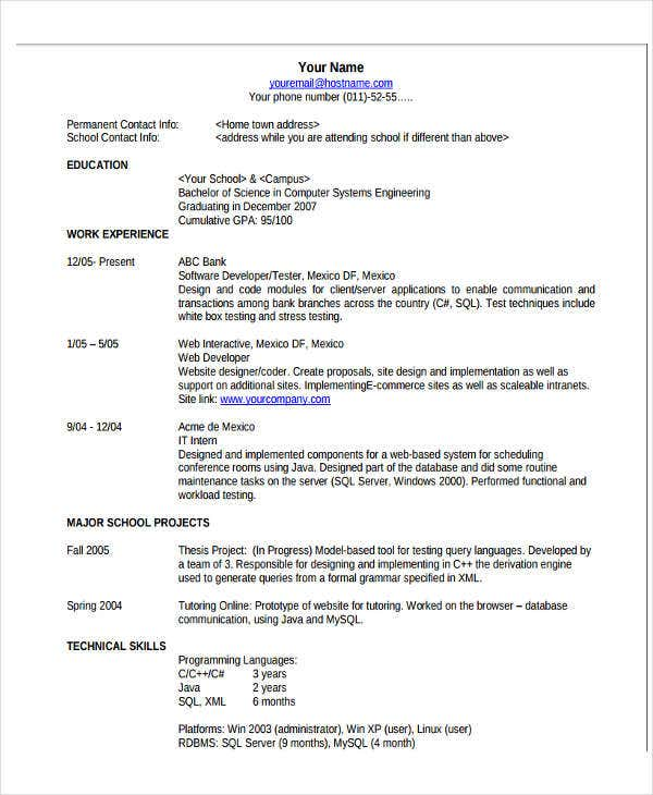 Basic Resume Format Template   Free Word Pdf Format