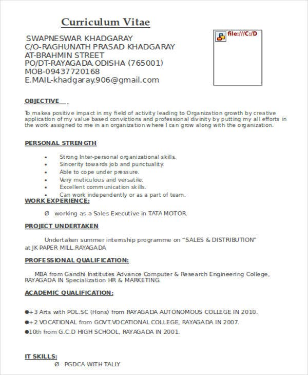 Marketing Fresher Resume Template   Free Word Pdf Format