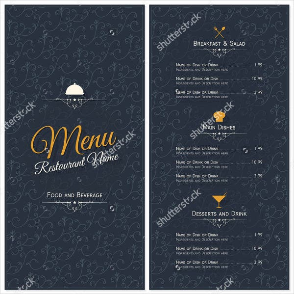 breakfast buffet menu design