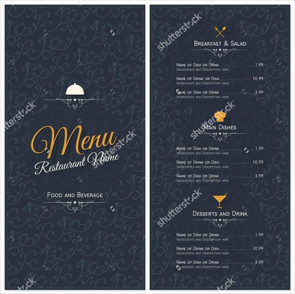 8  buffet menu templates