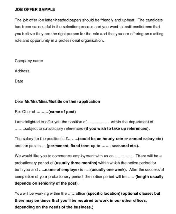 Delightful Free Business Offer Letter Template
