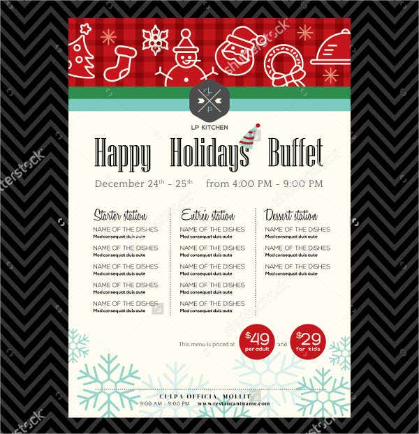 christmas party buffet menu template