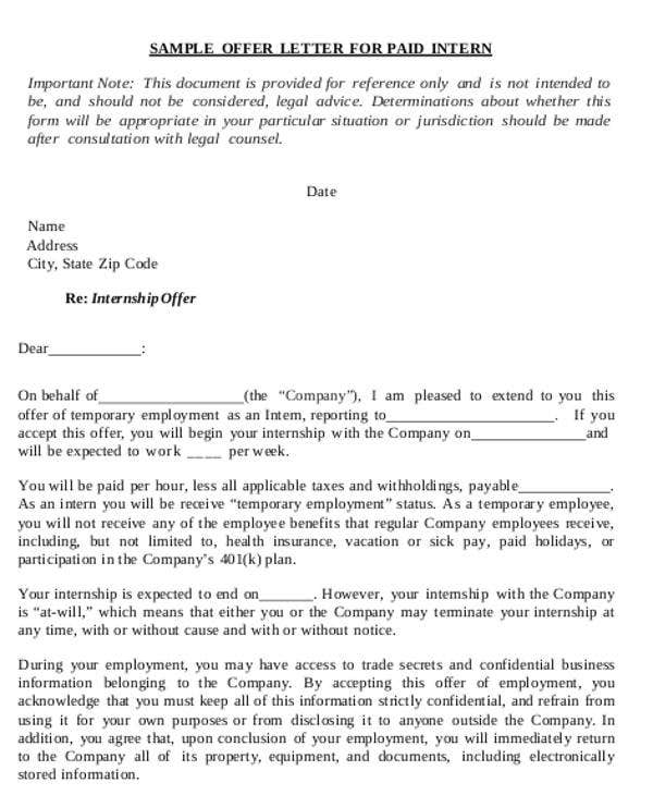 Attractive Business Offer Letter Format For Paid Intern