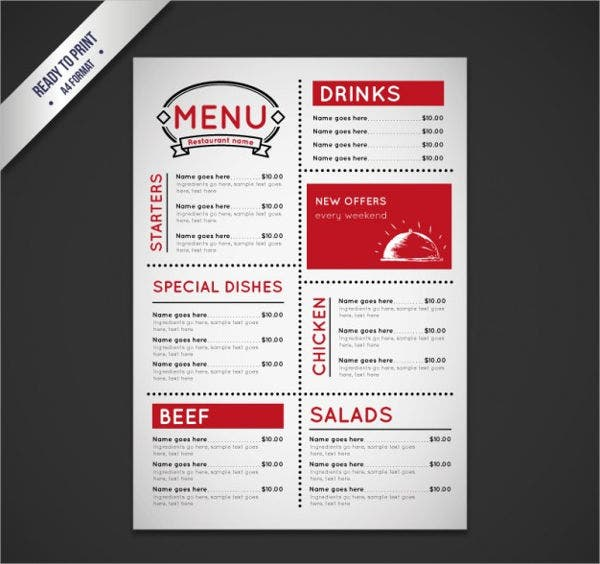 buffet menu services template