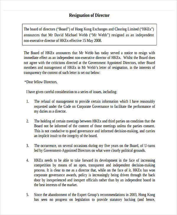 6 board resignation letter template 6 free word pdf
