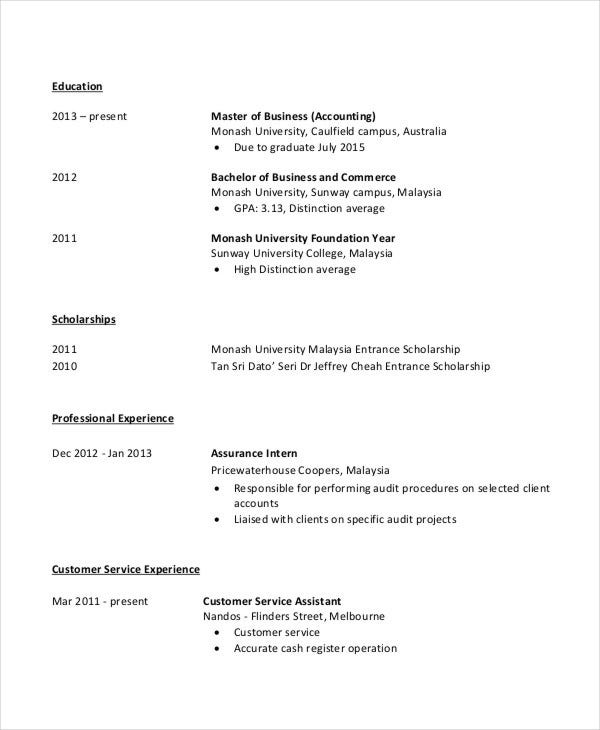 4+ Fresher Accountant Resume - 6+ Free Word, PDF Documents Download ...