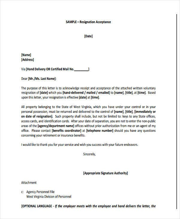 board resignation acceptance letter template - Board Member Resignation Letter Sample