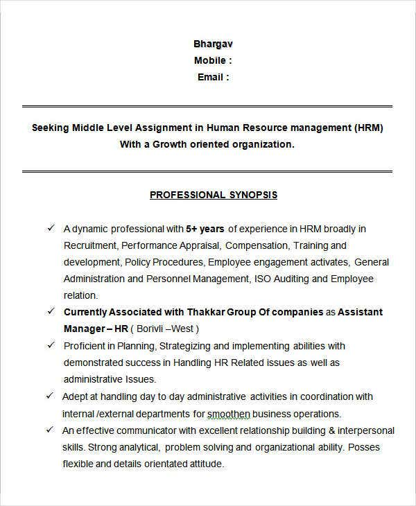Assistant Manager HR Resume Format  Human Resource Resumes