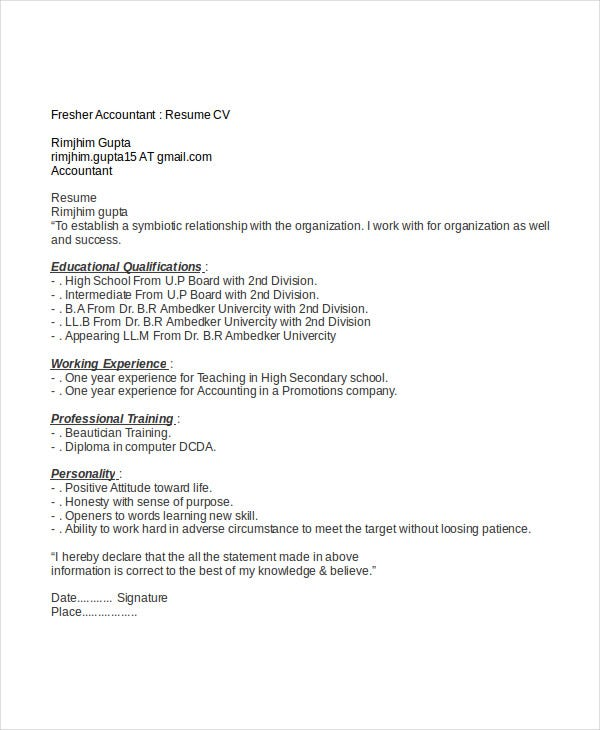 resume for fresher accountant job - Resume I Hereby Declare