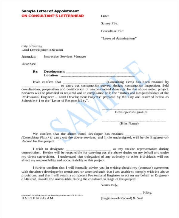 Contractor Appointment Letter Template   Free Word Pdf Format
