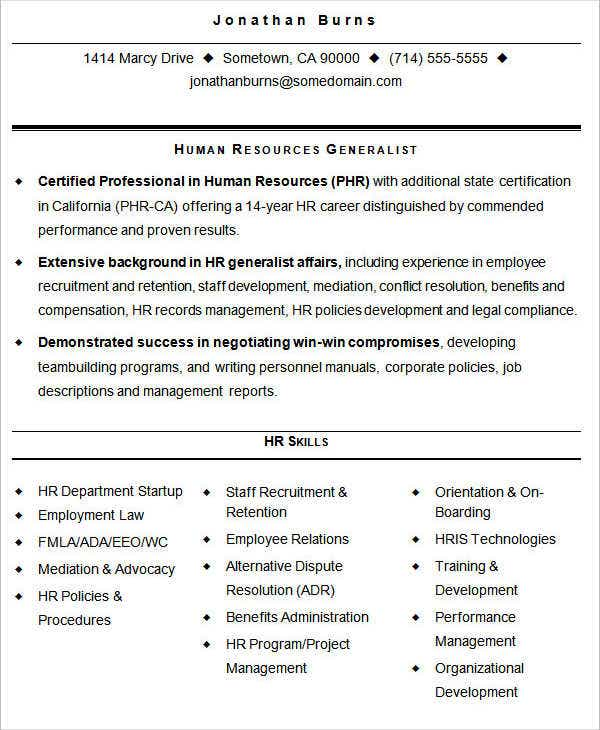 Hr Resume Format Template   Free Word Pdf Format Download