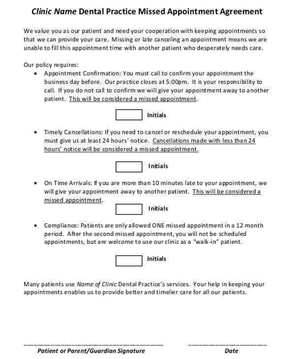 Missed Appointment Letter Template   Free Word Pdf Format