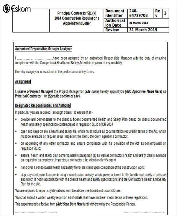 principal contractor appointment letter template