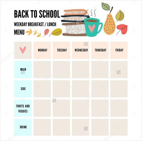 preschool weekly menu template