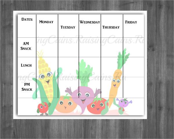 preschool monthly menu template