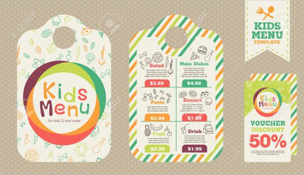 preschool kids menu template