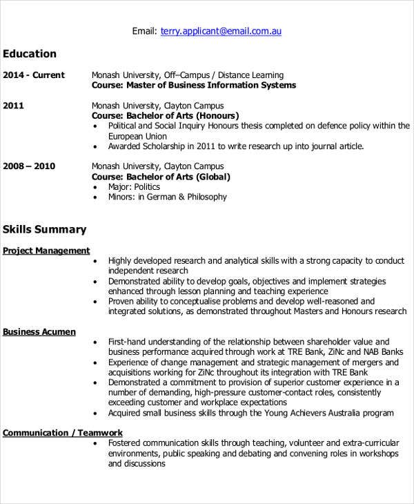 Resume Resume Example Monash it resume format template 7 free word pdf download latest example monash edu
