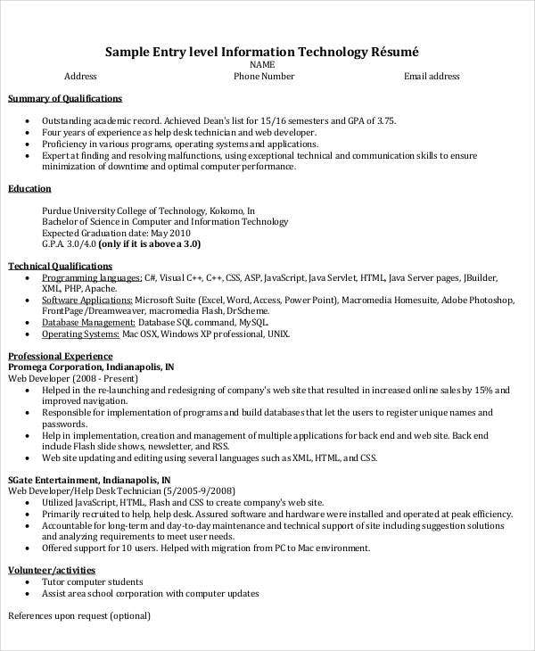 It Resume Format Template 7 Free Word Pdf Format Download