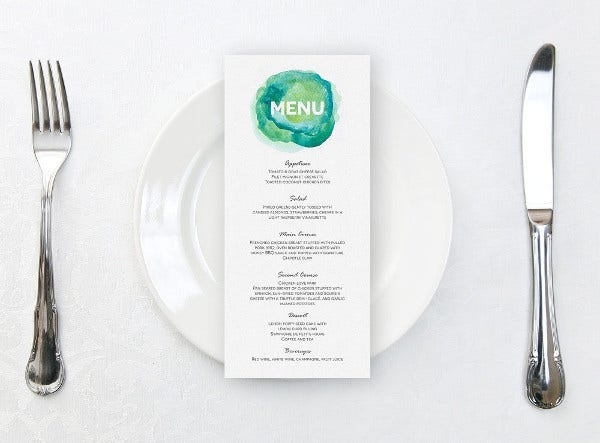 bridal shower menu card template