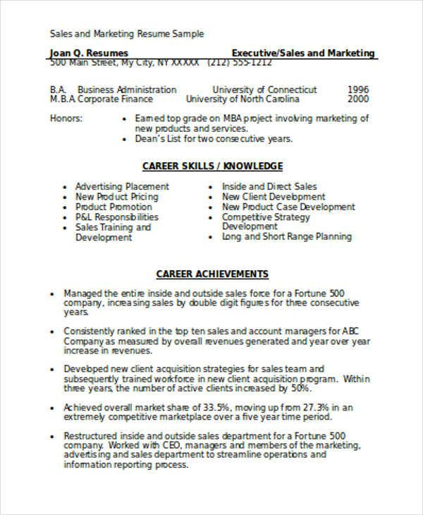 Sales And Marketing Resume Format Template For Sales Marketing Resume