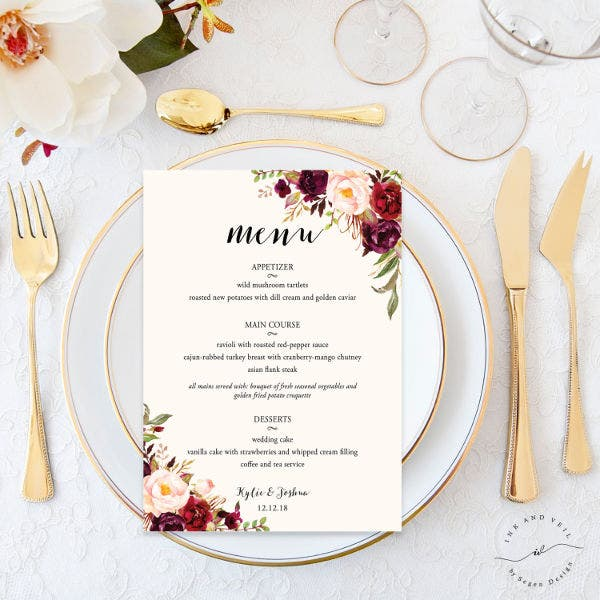 Bridal Shower Food Menu Template