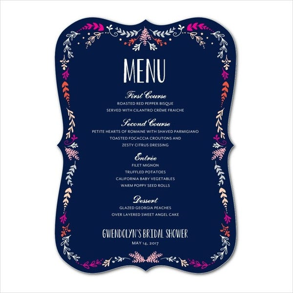 Bridal Shower Stationery Menu Template