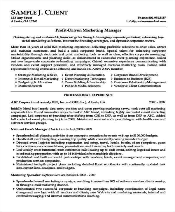 job resume sample template best marketing format federal professional