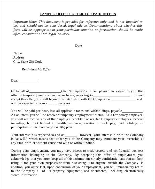 appointment letter for internship trainee