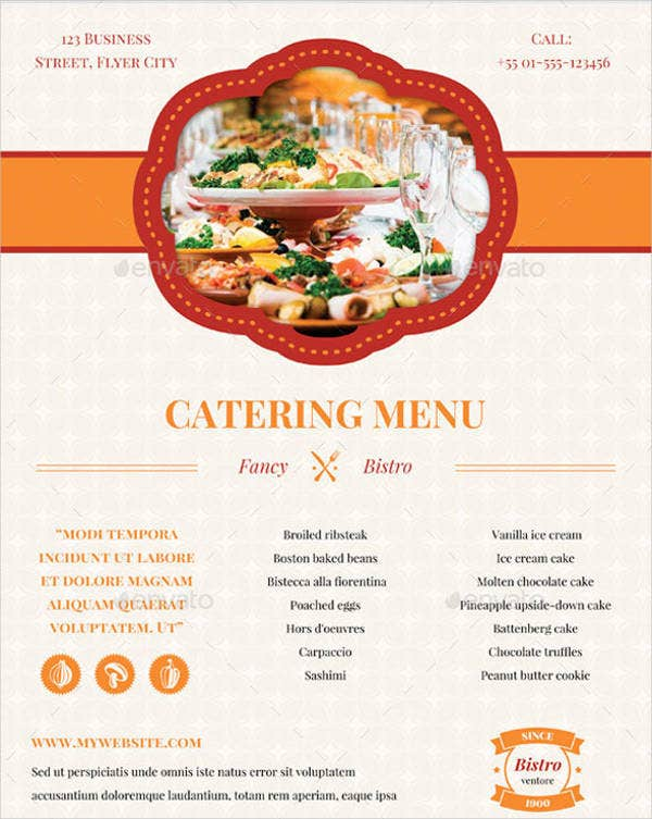 catering banquet menu template