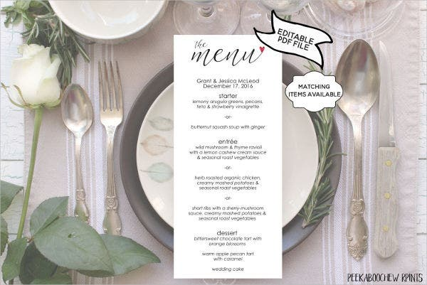 banquet dinner menu template