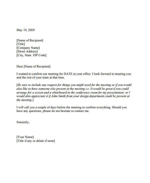 meeting appointment confirmation letter template
