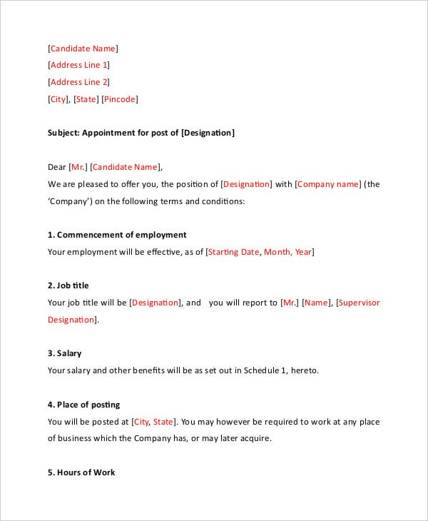 Trainee Appointment Letter 5 Free Word Pdf Documents
