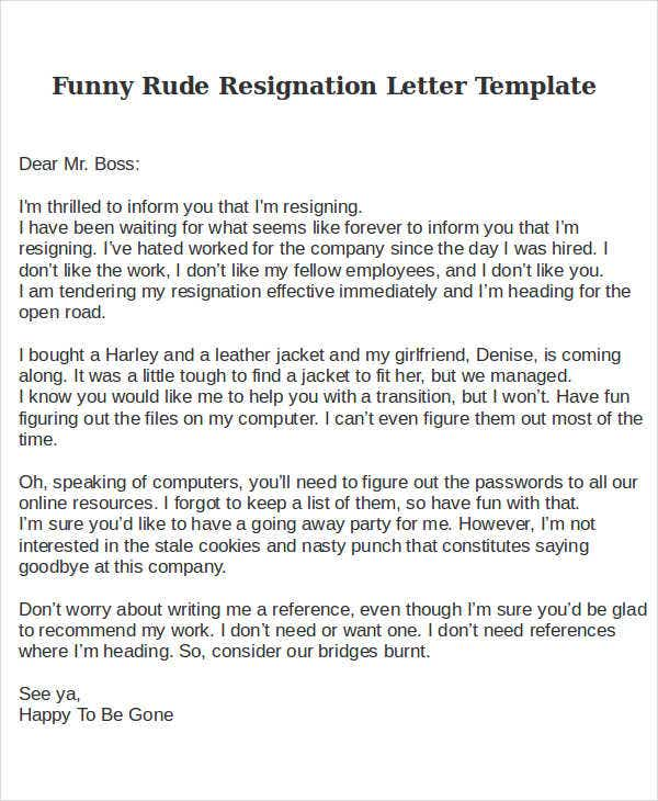 Rude Resignation Letter Template - 8+ Free Word, PDF Format Download ...