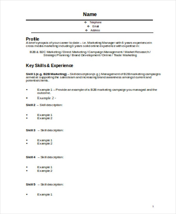 Exceptional Marketing Manager Resume Format Template