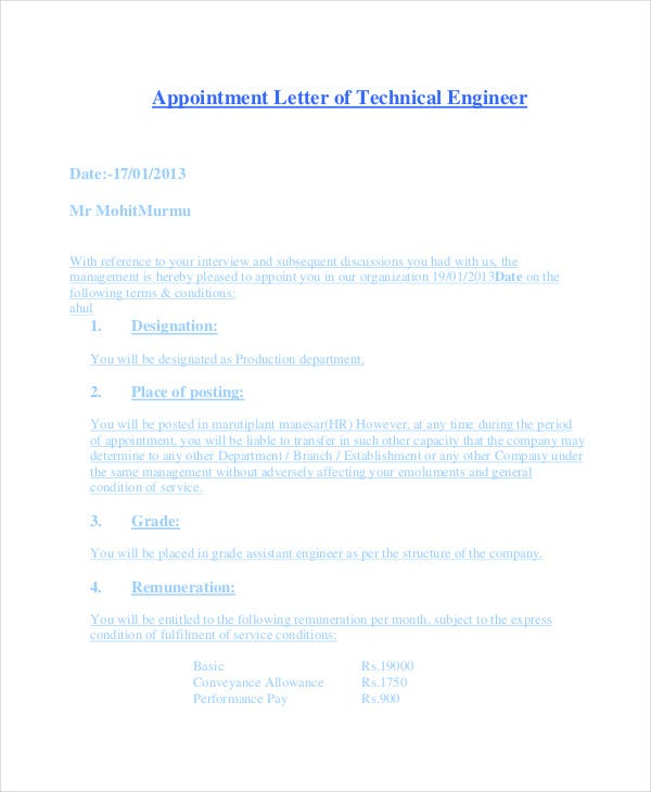trainee engineer appointment letter example