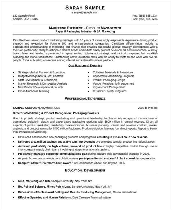 marketing resume format template